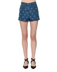 Valentino Star Studded Denim Shorts Blue