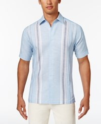 Cubavera Men's Paneled Striped Shirt Allure