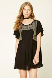 Forever 21 Embroidered Peasant Dress Black Gold