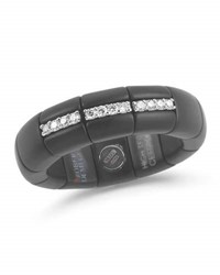 Roberto Demeglio Black Ceramic And 18K White Gold Ring With Diamonds 0.11Tdcw
