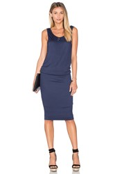 Splendid Textured Jersey Midi Dress Navy