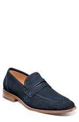 Stacy Adams Colfax Apron Toe Penny Loafer Navy Suede