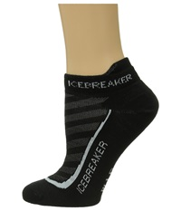 Icebreaker Run Ultra Light Micro 1 Pair Pack Black Pearl Black Women's No Show Socks Shoes Multi