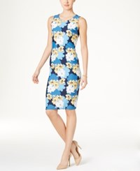 Charter Club Floral Print Sheath Dress Only At Macy's Intrepid Blue Combo