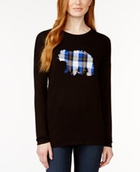 G.H. Bass And Co. Plaid Bear Applique Sweater