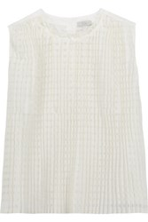 Clu Pleated Checked Cotton And Silk Blend Top White