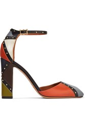 Valentino Color Block Studded Leather Pumps Multi