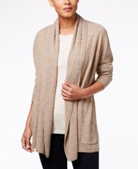 Karen Scott Cable Knit Pocket Cardigan Only At Macy's Chestnut Heather
