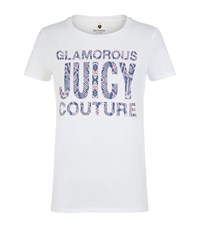 Juicy Couture Snakeskin Print Logo T Shirt Female White