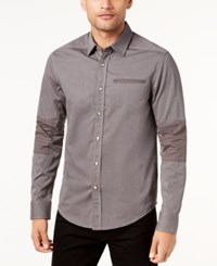 Sean John Men's Striped Pieced Shirt Coffee Bean