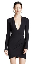 Susana Monaco Plunge Neck Mini Dress Black