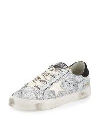 Golden Goose May Star Low Top Sneaker White Crackled Gold