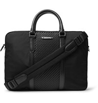 Ermenegildo Zegna Nylon And Pelle Tessuta Leather Briefcase Black