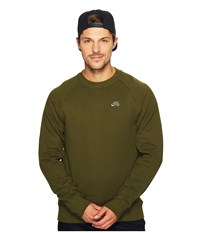 Nike Sb Everett Repellent Motion Crew Shirt Legion Green Tumbled Grey Men's Long Sleeve Pullover