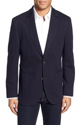 Men's Big And Tall Flynt Pinstripe Jersey Blazer Navy