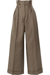 Acne Studios Perrie Wool Blend Twill Wide Leg Pants Army Green