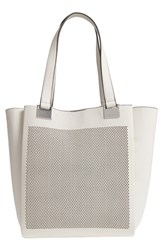 Vince Camuto Beatt Perforated Leather Tote Grey Vaporous Grey