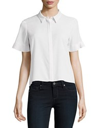 French Connection Polly Plains Frill Sleeve Top Grey Marble