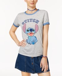 Freeze 24 7 Disney Juniors' Stitch Graphic Ringer Tee Grey Heather