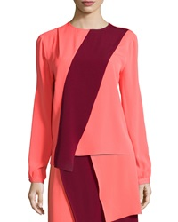Tanya Taylor Two Tone Long Sleeve Blouse