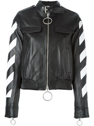 Off White Striped Sleeves Leather Jacket Black