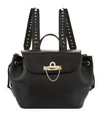 Valentino Garavani Small Demilune Leather Backpack Black