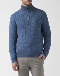 Polo Ralph Lauren Navy Blue Zip Collar Cotton Cable Knit Sweater