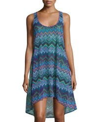 Gottex Chevron Print Skyline High Low Tank Dress Multi