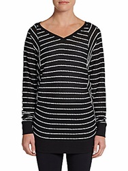 Marc New York By Andrew Marc Performance Striped Performance Tunic Black White