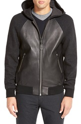 Mackage Mixed Leather And Wool Hooded Zip Jacket Black