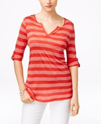 G.H. Bass And Co. Three Quarter Sleeve Striped Top Salsa Combo