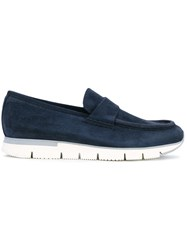 Santoni Chunky Sole Penny Loafers Men Leather Suede Rubber 6 Blue