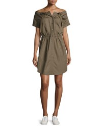 Theory Laela Stretch Cotton Off The Shoulder Shirtdress Green