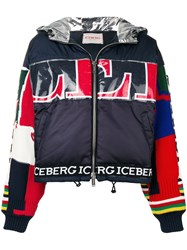 Iceberg Patchwork Detail Puffer Jacket Blue