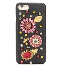 Dolce And Gabbana Embellished Leather Iphone 6 Case Black