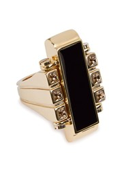 Lanvin Deco Gold Tone Ring Black