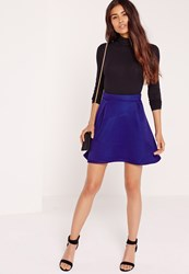 Missguided Premium Mesh Full Mini Skirt Cobalt Blue Blue