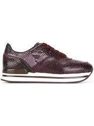Hogan Snakeskin Effect Sneakers Pink And Purple