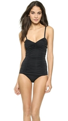 Michael Kors Collection Draped Solids Shirred Maillot Black