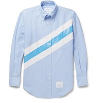 Thom Browne Slim Fit Button Down Collar Striped Cotton Oxford Shirt Light Blue