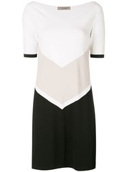 D.Exterior Colour Block Dress White