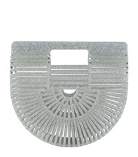 Cult Gaia Mini Acrylic Glitter Ark Bag Silver