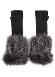 Hockley Frida Fur Trimmed Cashmere Fingerless Mittens Grey