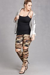 Forever 21 Plus Size Camo Print Leggings Olive