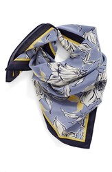 Halogenr Women's Halogen Bella Floral Square Silk Scarf Blue Combo