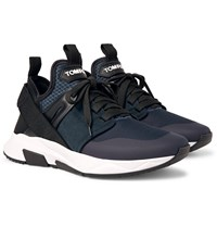 Tom Ford Jago Neoprene Suede And Mesh Sneakers Blue