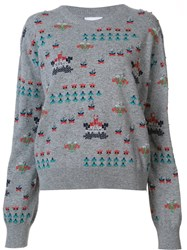 Barrie 'Star Games' Embroidered Pullover Grey