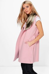 Boohoo Faux Fur Collar Sleeveless Wool Look Coat Pink