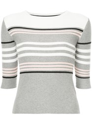 Loveless Striped Knitted Top Grey
