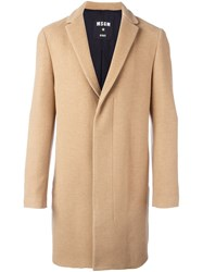 Msgm Concealed Fastening Mid Length Coat Nude And Neutrals